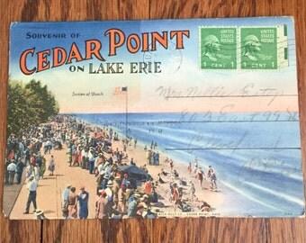 Vintage Souvenir of Cedar Point on Lake Erie Fold Out Post Card 1940's post card amusement park
