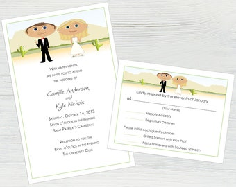 Desert Wedding Invitation Suite – Featuring You and Your Partner as Cartoons, Cactus Wedding, Funny Wedding Invitations, Personalized