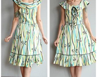 1940s Dress // Pretty Bow Joan Miller Dress // vintage 40s ruffle dress
