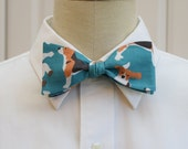 Men's Bow Tie with beagles on teal