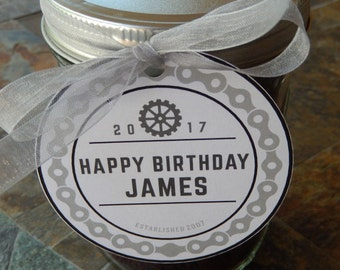 """Birthday Thank You Custom 3"""" Favor Tags - Bicycle Motorcycle Retro Chain - for Wine Bottles or Mason Jar Favors - (50) Masculine Vintage Tag"""