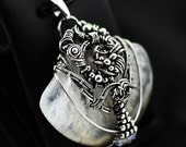 Large pendant, transparent agate wrapped, wire wrapping, white agate, big pendant, silver wrapping, sterling silver agate pendant, 925, .925