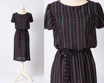 Vintage 1970s 1980s Black Red Blue White Striped Preppy Secretary Dress * Size Large * FREE SHIPPING