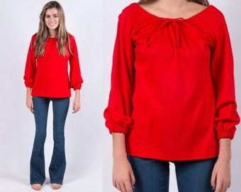 Vintage 1970s Red Knit Bohemian Peasant Blouse *Off Shoulder Shirt Top Gypsy Festival Hippie Boho * Size Large * FREE SHIPPING