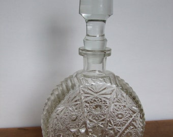 Vintage Clear Glass Decanter Cut Glass Design Semi-Circle Shape