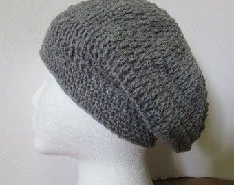 Slouchy, Hat, Wool, Gray, Cap, Womans, Organic, Natural, Woolen, Beanie, Spring, Big Hair, Wool, Dreadlocks, Crochet, Mans, Bohemian