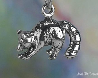 Sterling Silver Raccoon Charm Wild Racoon with Fish 3D Solid .925