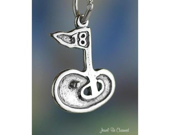 Sterling Silver Golfing Charm Golf Course 18th Eighteenth Hole .925