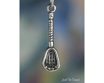 Sterling Silver Lacrosse Stick Charm LAX Sport Player Fan 3D Solid 925