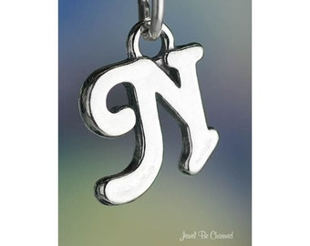 Sterling Silver Script Letter N Charm Initial Cursive Shiny Solid .925