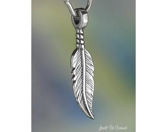 Sterling Silver Small Feather Charm Double Sided Feathers Solid .925