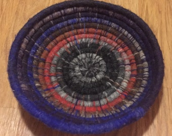 Blue/Gray Noro Kureyon Coiled Storage Basket