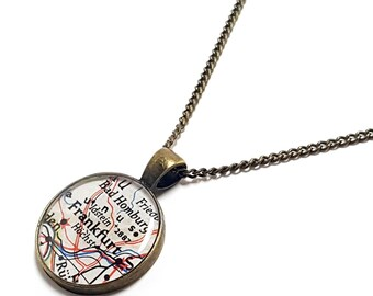 Frankfurt Map Necklace. Frankfurt Necklace. Made With A 1959 Vintage Map. Ready To Ship. Germany Map Pendant Jewelry. Resin Jewellery