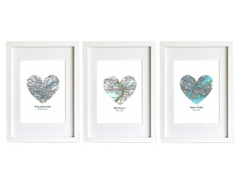 Set of THREE Custom Heart Map Art Prints. Prints Only. You Select 3 Cities Worldwide. Personaized Text. Housewarming Gift. Wedding Gift.