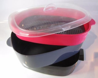Tupperware ~ Oval Microwave Stack Cooker/ Vegetable Steamer ~ Black/Red/Gray/Combo