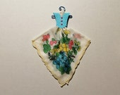 Vintage Hanky Dress blue, yellow and pink floral hanky with blue embossed bodice