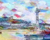 Whitby Print, Whitby Art Giclee Print, Whitby Harbour, Modern Abstract Landscape Print, Seaside Print, North Yorkshire