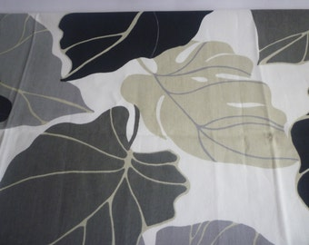 """Retro Table Runner Black White Grey Taupe Funky Floral Cotton (54 long"""" 137cm)"""