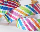 CLEARANCE SALE*FREE Shipping~ 3 yards x  Grosgrain Ribbon - 22 mm Multi Color Pastel Checkers Gingham Ribbon