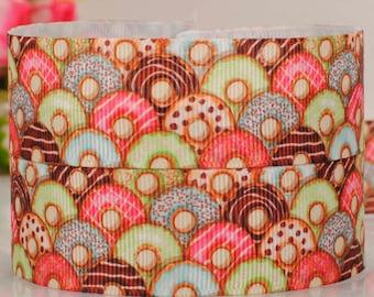 """3 yards 25 mm (1 """" ) Grosgrain Ribbon Sweet Colorful Donuts Printed Ribbon Hair bow ribbon Sewing Ribbon Scrapbook"""
