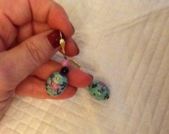 Vintage Asian Ceramic Painted Beads Drop Earrings Floral