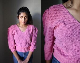Vintage Bubblegum Pink Puff Shoulder Crop Knit Sweater / S