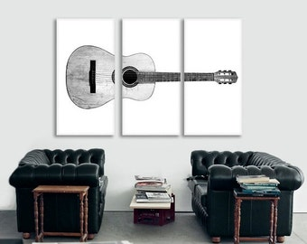 CHRISTMAS in JULY SALE Black and White Acoustic Guitar Full View on 3 Canvas Split , Decorating Ideas, Wall Decor, Wall Art, Music Decor