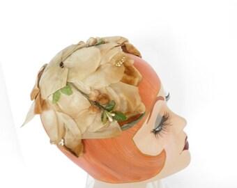 Vintage 1960s hat, halfhat caramel brown
