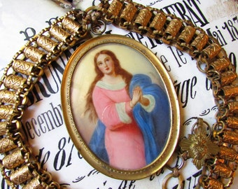 Madonna Enchanted antique hand painted necklace Virgin Mary portrait signed regalia chain sacred heart Victorian ooak jewelry assemblage