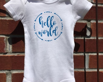 Hello World with arrows Baby or Infant Onesie/Gown
