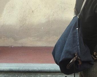 Backpack in  blue stonewashed canvas,everyday bag,women's backpack,shoulder bag ,with leather details,NINA