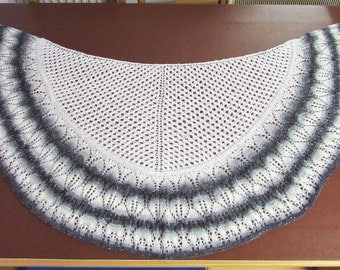 "Lace Shawl, half round shawl, hand knitted, sequin yarn, gradient yarn, 52"" x 26"", New lower price"