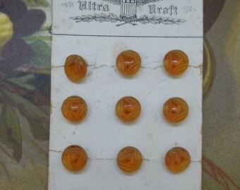 12 Vintage Czech Amber Glass Miniature Buttons on Card