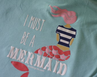 Mermaid Racer Back Tank Top - I Must Be A Mermaid LadiesTank Top - Beachwear - Ladies Wear - FREE SHIPPING in US