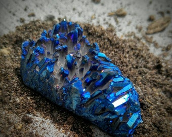 Large Blue MetallicTitanium Aura Quartz Point Cluster Specimen