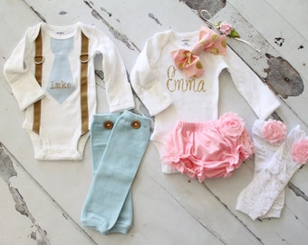 Spring Summer Twins Coming Home Outfit or Baby Boy Baby Girl Personalized 1st Birthday Sets. Tie Suspenders, Girl Bow Bodysuit Leg Warmers