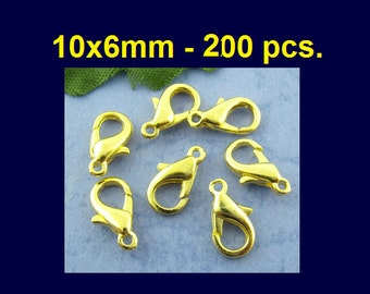 200pcs. Gold Plated Lobster Clasps - 10mm X 6mm