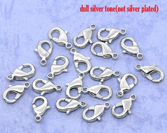 50 pcs. Silver Tone Lobster Clasps - 12mm X 7mm - Made of Copper - Claw Clasps - Hole Size: 1.4mm
