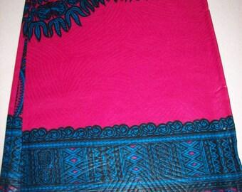Fuchsia pink with blue dashiki fabric 2 Yards per Panel/ Dashiki clothing/ Dashiki Skirt/ Dashiki Dress/ Dashiki Shirt Fabric