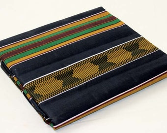 Black Kente print per yard Kente #4/ African weddings/ African fabrics/ Kente fabrics, black, red, green and gold kente
