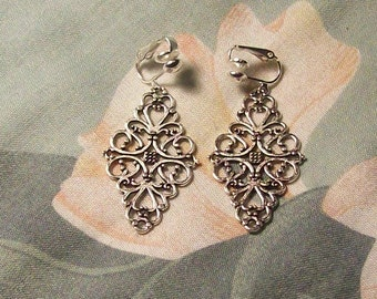 Clip on or Pierced Tibet Silver Filigree Diamond Earrings