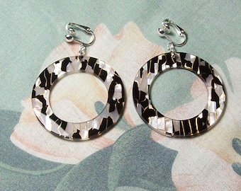 45mm Large Black and White Acrylic Circle Hoop Silver Earrings Clip on or Pierced