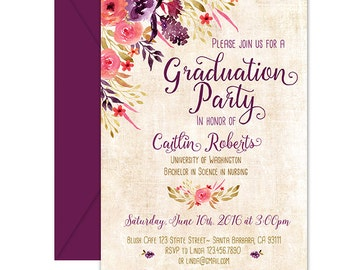 Graduation Party Invitation, Floral, Boho Chic- Graduation Open House Party, High School Graduation, College Graduation, Grad Announcement