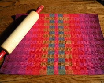 Kitchen Towel, Rainbow Blocks, Woven Guest Towel, Woven Hand Towel, Handwoven Tea Towel, Chili Pepper Red, Tea Towel, Woven Towel, Weaving