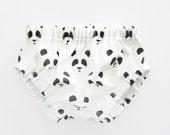 Black Panda Diaper Cover Unisex Monochrome Bloomers