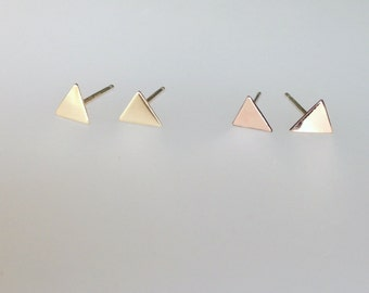 Triangle studs, tiny studs, solid gold earrings, rose gold earrings stud earrings, geometric earrings, silver earrings