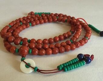 Tibetan Mala Traditional Coral Mala 108 Beads with Turquoise Counters for Meditation