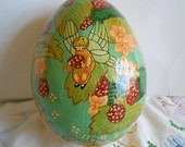 Darling RASPBERRY FAIRY Paper Mache EGG Box Winged Girl Colorful Orange Blossoms Green Leaves 2 Pc Vintage India Hand Painted Trinket Keeper
