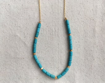 SALE Turquoise tube bead necklace on gold plated chain | FREE gift wrapping