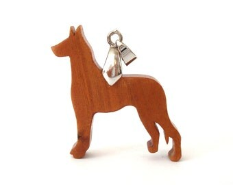 Great Dane Dog Necklace Wooden Dog Breed Jewelry Scroll Saw Pendant Cherry Hand Cut
